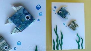 getlinkyoutube.com-Geldschein falten: Fisch zum Geldgeschenke basteln - Origami