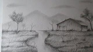getlinkyoutube.com-Cómo dibujar un sencillo paisaje a lápiz paso a paso, BIEN EXPLICADO