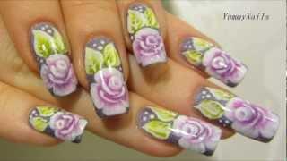 getlinkyoutube.com-One Stroke Rose Garden Design in Violet, Purple, Lime Green and White Nail Art Tutorial