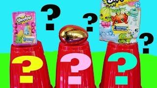 getlinkyoutube.com-Surprise Stacking Cups Giant Shopkins Blind Bags Rare TMNT Mashems Kinder Surprise Eggs Fun Toys