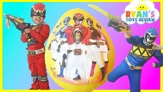 getlinkyoutube.com-GIANT EGG SURPRISE OPENING POWER RANGER DINO CHARGE Kinder Egg Nickelodeon Toys Kids Video