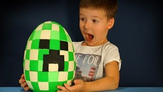 getlinkyoutube.com-Giant Minecraft Surprise Egg Creeper Head. Майнкрафт Огромное Яйцо с Сюрпризом на русском языке.