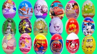 getlinkyoutube.com-Surprise Eggs Peppa Pig Frozen Angry Birds Mickey Minnie Disney Turtle Ninjas Huevos Sorpresa