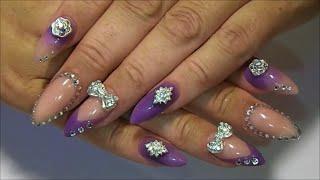 getlinkyoutube.com-My purple Acrylic Nails set, How I made them
