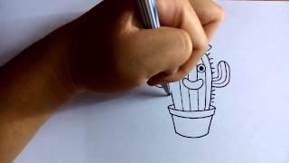 วาดการ์ตูนกันเถอะ สอนวาดการ์ตูน ต้นกระบองเพชร