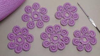 getlinkyoutube.com-Урок вязания.Как связать цветок крючком с лепестками из гусенички. Irish lace.