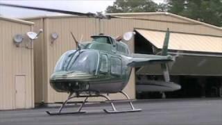 Bell 206 Jetranger Taking off from the Hanger