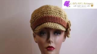 getlinkyoutube.com-Gorra con Banda y Flor Crochet