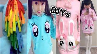 getlinkyoutube.com-DIY Cute Winter/Fall Coats: DIY My Little Pony Rainbow Dash Hoodie + DIY Bunny Pocket Coat + Haul