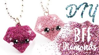 getlinkyoutube.com-♡ DIY GLITTER BFF Diamond Charms! ♡ | Kawaii Friday!
