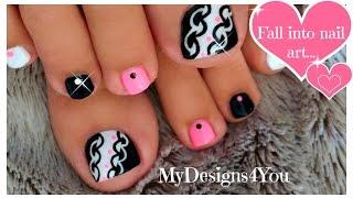 getlinkyoutube.com-Hot Pink and Black Toenail Art Design ♥
