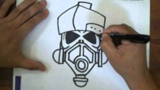 getlinkyoutube.com-How to draw a skull with a gas mask (quick sketch)