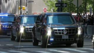 getlinkyoutube.com-Motorcade of President Obama with Secret Service Suburbans Leaving the World Trade Center New York