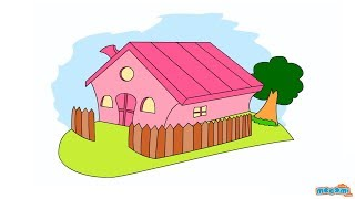 getlinkyoutube.com-How to Draw a House (Step by Step Guide) | Mocomi Kids