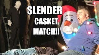 getlinkyoutube.com-SLENDER MAN VS FAT MAN CASKET TABLE MATCH Backyard Wrestling Action