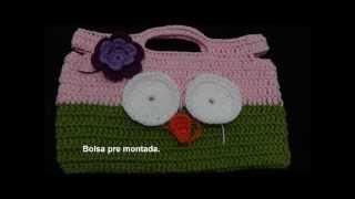 getlinkyoutube.com-Bolsa em Crochê Menina Coruja