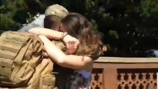 getlinkyoutube.com-Soldier Surprises Girlfriend | RETURNS HOME from the Army