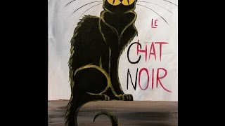 getlinkyoutube.com-Le Chat Noir Step by Step Acrylic Painting on Canvas for Beginners