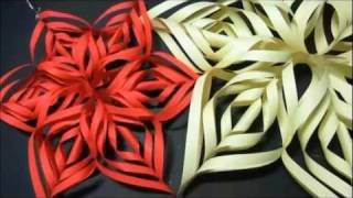 getlinkyoutube.com-Adorno de Navidad: Copo de nieve de papel. How to make paper snowflakes.