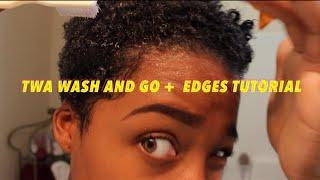 getlinkyoutube.com-Wash and go short natural hair + edges tutorial!
