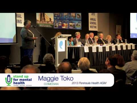 WISE Stand Up for Mental Health comedian Maggie Toko performs at Peninsula Health AGM