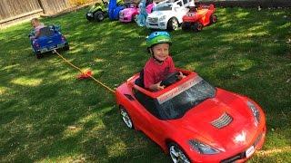 getlinkyoutube.com-POWER WHEELS Tug of War with Power Wheels Corvette, Chevy Silverado + Mercedes Benz