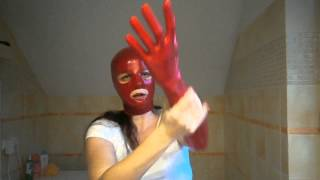 getlinkyoutube.com-Masking latex mask, gloves and gas masks