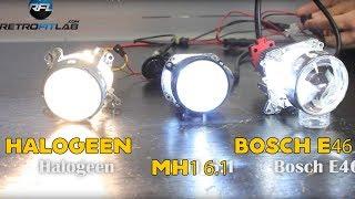 getlinkyoutube.com-Compared Valeo halogen, Mini H1 6.1 and Bosch E46 bi-xenon projectors