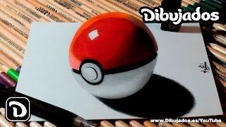 Como dibujar una pokebola en 3D - Explicado paso a paso | Dibujemos en 3D