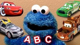 getlinkyoutube.com-Learn ABC Alphabet With Cookie Monster Eats Cars Play Doh Cookie Monster's Letter Lunch Baby Toys
