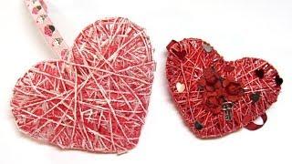 getlinkyoutube.com-Como hacer corazones 3D de hilo o cordón. Hearts 3D yarn or cord.