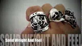 getlinkyoutube.com-Mens Stainless Steel Biker Skull Rings And Bracelets || Shopjw.com