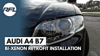 Audi A4 B7 Mini H1 Bi xenon projector headlight retrofit full tutorial