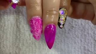 getlinkyoutube.com-Relleno de uñas/  Cambio de punta coffin - almendra  /Cambio de diseño/Luliz nails