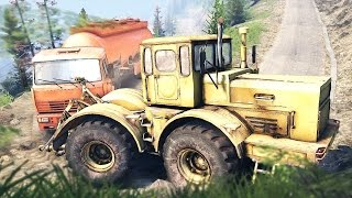 getlinkyoutube.com-SPINTIRES - K 700 Tractor Towing a Semi Tanker Truck Uphill