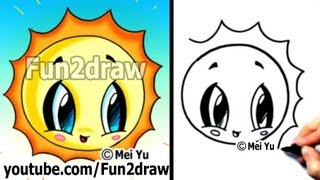 getlinkyoutube.com-How to Draw Easy - Kawaii Tutorial - Cute Easy Cartoons - Sun