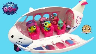 getlinkyoutube.com-Littlest Pet Shop Pets + LPS Surprise Blind Bag On Hello Kitty Airplane - Cookieswirlc