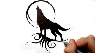 getlinkyoutube.com-Drawing a Howling Wolf Silhouette - Black Tribal Tattoo Design