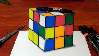 getlinkyoutube.com-Drawing a 3D Rubik's Cube