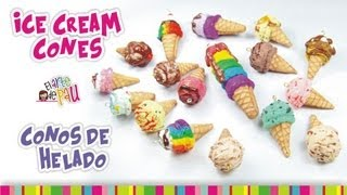getlinkyoutube.com-ICE CREAM CONES Polymer Clay Tutorial / CONOS DE HELADO de Arcilla Polimérica
