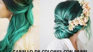 getlinkyoutube.com-➪ Como pintar / teñir el cabello con papel crepe | Ojitoz Anshu