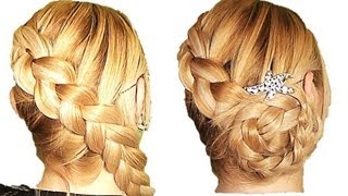 getlinkyoutube.com-Trenza Francesa Diagonal Invertida  y recogido facil peinado para cabello largo  y mediano