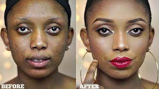 Full Face Makeup Tutorial Neutral Eyes Bold Lips ( Makeup Transformation