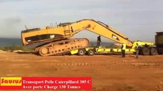 getlinkyoutube.com-SAURUS TRANS TRAVAUX TRANSPORT PELLE HYDRAULIQUE 385 PORTE CHARGE 130 T