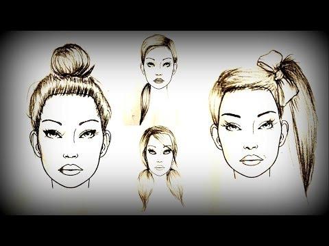Como desenhar 4 penteados (CABELO PRESO)