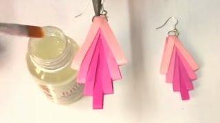 getlinkyoutube.com-Quilling earrings How to make waterproof Quilling earrings