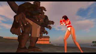 getlinkyoutube.com-Nanakurata vs Giant Majin vs Mothra