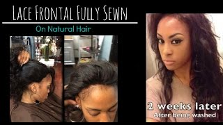 getlinkyoutube.com-Lace frontal Sew in Weave on Natural hair! - No Glue - Los Angeles Hair Salon 'Stylist Lee'
