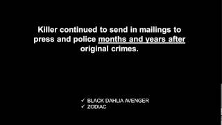 Signature MOs Avenger Zodiac video Steve Hodel Crime comparisons