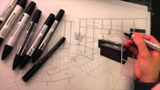 getlinkyoutube.com-Dessin Perspective Architecture Intérieure